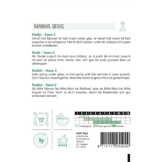 radish saxa 2 growing instructions