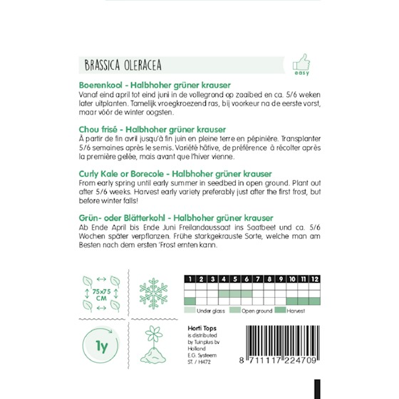 HT curly kale growing instructions